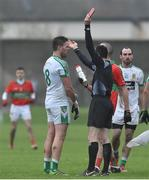 26 November 2017; Cian O'Connor of Moorefield is sent off by referee John Hickey during the AIB Leinster GAA Football Senior Club Championship Semi-Final match between Rathnew and Moorefield at Joule Park in Aughrim, Wicklow. Photo by Matt Browne/Sportsfile