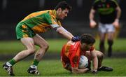 26 November 2017; Donie Newcombe of Castlebar Mitchels is tackled by Ian Burke of Corofin during the AIB Connacht GAA Football Senior Club Championship Final match between Corofin and Castlebar Mitchels at Tuam Stadium in Tuam, Galway. Photo by Ramsey Cardy/Sportsfile