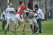 26 November 2017; Daryl Flynn and Liam Callaghan,4, of Moorefield in action against Graham Merrigan of Rathnew during the AIB Leinster GAA Football Senior Club Championship Semi-Final match between Rathnew and Moorefield at Joule Park in Aughrim, Wicklow. Photo by Matt Browne/Sportsfile