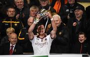 26 November 2017; Patsy Bradley of Slaughtneil lifts the cup after the AIB Ulster GAA Football Senior Club Championship Final match between Slaughtneil and Cavan Gaels at the Athletic Grounds in Armagh.