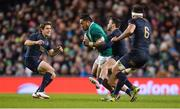 25 November 2017; Bundee Aki of Ireland in action against Argentina's, from left, Nicolas Sanchez, Martin Landajo and Pablo Matera during the Guinness Series International match between Ireland and Argentina at the Aviva Stadium in Dublin. Photo by Piaras Ó Mídheach/Sportsfile