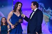 25 November 2017; TG4 Senior Players Player of the Year Noelle Healy of Dublin is interviewed by MC Marty Morrissey during the TG4 Ladies Football All-Star Awards at the CityWest Hotel in Saggart, Co Dublin. Photo by Brendan Moran/Sportsfile