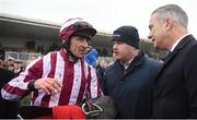 26 November 2017; Jockey Davy Russell, trainer Gordon Elliott and owner Chris Jones after winning the Ladbrokes Troytown Handicap Steeplechase on Mala Beach at Navan Racecourse in Navan, Co Meath. Photo by Cody Glenn/Sportsfile