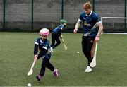 27 November 2017; Conor Whelan of Galway, right, and Sarah Ryan, aged 8, of Killinure N.S., Limerick, during the launch of the GAA 5 Star Centres at O'Connell Boys National School and Croke Park in Dublin. Photo by Sam Barnes/Sportsfile