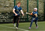 27 November 2017;  Conor Whelan of Galway and Lily Mai Berry of Scoil Réalt Na Mara, Kilmore, Co. Wexford, during the launch of the GAA 5 Star Centres at O'Connell Boys National School and Croke Park in Dublin. Photo by Sam Barnes/Sportsfile