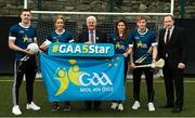 27 November 2017; In attendance during the launch of the GAA 5 Star Centres, is, Uachtarán Chumann Lúthchleas Gael Aogán Ó Fearghail, centre, with from left, Diarmuid O'Connor of Mayo, Caroline O'Hanlon of Armagh, Mags D'Arcy of Wexford, Conor Whelan of Galway and Pat Culhane, National Development Officer for the GAA, at O'Connell Boys National School and Croke Park in Dublin. Photo by Sam Barnes/Sportsfile