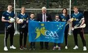 27 November 2017; In attendance during the launch of the GAA 5 Star Centres, is, Uachtarán Chumann Lúthchleas Gael Aogán Ó Fearghail, centre, with from left, Diarmuid O'Connor of Mayo, Caroline O'Hanlon of Armagh, Aaron Dempsey and Lily Mai Berry of Scoil Réalt Na Mara, Kilmore, Co Wexford, Mags D'Arcy of Wexford, and Conor Whelan of Galway for the GAA, at O'Connell Boys National School and Croke Park in Dublin. Photo by Sam Barnes/Sportsfile