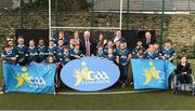27 November 2017; Uachtarán Chumann Lúthchleas Gael Aogán Ó Fearghail with Conor Whelan of Galway, Caroline O'Hanlon of Armagh, Mags D'Arcy of Wexford, Diarmuid O'Connor of Mayo, and attendees during Launch of the GAA 5 Star Centres at O'Connell Boys National School & Croke Park in Dublin. Photo by Sam Barnes/Sportsfile