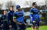 28 November 2017; Leinster players, from right, Dave Kearney, Isa Nacewa, Jordi Murphy and Sean Cronin during squad training at UCD in Dublin. Photo by Ramsey Cardy/Sportsfile
