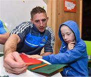 28 November 2017; The Gaelic Players Association (GPA) and Childhood Cancer Foundation (CCF) today launched the #Championsofcourage Campaign which will see inter-county players across the country continue to support the CCF and help Ireland's fight against childhood cancer. In attandance is Eoghan O'Gara of Dublin and 8 year old PJ Larkin from Newbridge, Co. Kildare in St John's Ward at Our Lady's Children's Hospital, Crumlin. Photo by Matt Browne/Sportsfile