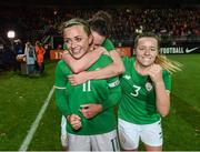 28 November 2017; Republic of Ireland players, from left, Katie McCabe, Karen Duggan and Harriet Scott following the 2019 FIFA Women's World Cup Qualifier match between Netherlands and Republic of Ireland at Stadion de Goffert in Nijmegen, Netherlands. Photo by Stephen McCarthy/Sportsfile
