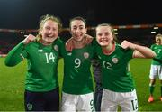 28 November 2017; Republic of Ireland players, from left, Amber Barrett, Roma McLaughlin and Tyler Toland following the 2019 FIFA Women's World Cup Qualifier match between Netherlands and Republic of Ireland at Stadion de Goffert in Nijmegen, Netherlands. Photo by Stephen McCarthy/Sportsfile
