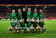 28 November 2017; The Republic of Ireland team, back row, from left, Amber Barrett, Diane Caldwell, Marie Hourihan, Louise Quinn, Karen Duggan and Niamh Fahey with, front row, Harriet Scott, Katie McCabe, Denise O'Sullivan, Sophie Perry and Tyler Toland during the 2019 FIFA Women's World Cup Qualifier match between Netherlands and Republic of Ireland at Stadion de Goffert in Nijmegen, Netherlands. Photo by Stephen McCarthy/Sportsfile