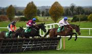 26 November 2017; Turbojet, with Mark Enright up, lead Delta Work, with Davy Russell up, and Half The Odds, with Sean Flanagan up, during the Monksfield Novice Hurdle at Navan Racecourse in Navan, Co Meath. Photo by Cody Glenn/Sportsfile