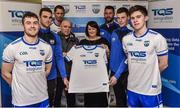1 December 2017; Maire Quilty Corporate Managing Director of TQS with Waterford hurling team manager Derek McGrath and, from left, Jamie Barron, Shane Fives, Maurice Shanahan, Dan Shanahan, Michael Curry and Conor Murray in attendance at the Waterford GAA new sponsorship launch at TQS Integration Systems in Lismore, Waterford. Photo by Matt Browne/Sportsfile