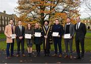 1 December 2017; Inter-county stars graduated today from the Jim Madden GPA Leadership Programme at Maynooth University. Pictured are, from left, Mayo footballer Tom Parsons, GPA President David Collins, Leitrim ladies footballer Anna Conlon, former Kildare ladies footballer Stacey Cannon, President of Maynooth University Prof. Philip Nolan, former Tipperary hurler Darragh Egan and Kilkenny hurler Michael Fennelly and GPA Chief Executive Dermot Earley, at Maynooth University, Maynooth, Co Kildare. Photo by Seb Daly/Sportsfile
