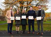 1 December 2017; Inter-county stars graduated today from the Jim Madden GPA Leadership Programme at Maynooth University. Pictured are, from left, Mayo footballer Tom Parsons, Leitrim ladies footballer Anna Conlon, former Kildare ladies footballer Stacey Cannon, former Tipperary hurler Darragh Egan and Kilkenny hurler Michael Fennelly, at Maynooth University, Maynooth, Co Kildare. Photo by Seb Daly/Sportsfile