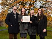 1 December 2017; Inter-county stars graduated today from the Jim Madden GPA Leadership Programme at Maynooth University. Pictured is Leitrim ladies footballer Anna Conlon, with family memebers, from left, father Séan, mother Bríd and sister Iseult, at Maynooth University, Maynooth, Co Kildare. Photo by Seb Daly/Sportsfile