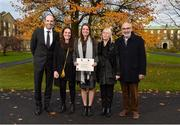 1 December 2017; Inter-county stars graduated today from the Jim Madden GPA Leadership Programme at Maynooth University. Pictured is Leitrim ladies footballer Anna Conlon, with GPA Chief Executive Dermot Earley, left, and family members, from left, sister Iseult, mother Bríd and father Séan, at Maynooth University, Maynooth, Co Kildare. Photo by Seb Daly/Sportsfile