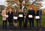 1 December 2017; Inter-county stars graduated today from the Jim Madden GPA Leadership Programme at Maynooth University. Pictured are, from left, Mayo footballer Tom Parsons, Martin Kelly, ThinkHR and Program Director, Leitrim ladies footballer Anna Conlon, former Kildare ladies footballer Stacey Cannon, President of Maynooth University Prof. Philip Nolan, former Tipperary hurler Darragh Egan and Kilkenny hurler Michael Fennelly, at Maynooth University, Maynooth, Co Kildare. Photo by Seb Daly/Sportsfile