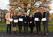 1 December 2017; Inter-county stars graduated today from the Jim Madden GPA Leadership Programme at Maynooth University. Pictured are, from left, Mayo footballer Tom Parsons, Leitrim ladies footballer Anna Conlon, former Kildare ladies footballer Stacey Cannon, Martin Kelly, ThinkHR and Program Director, Paula Kinnarney?, Maynooth University Department of Education, former Tipperary hurler Darragh Egan and Kilkenny hurler Michael Fennelly, at Maynooth University, Maynooth, Co Kildare. Photo by Seb Daly/Sportsfile