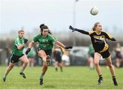 2 December 2017; Lauren McAllister of Aghada in action against Kate Brennan of Corduff during the All-Ireland Ladies Football Junior Club Championship Final match between Aghada and Corduff at Crettyard in Co Laois. Photo by Matt Browne/Sportsfile