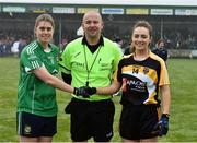 2 December 2017; Referee Jonathan Murphy with Emma Farmer captain of Aghada and Laura McEnaney captain of Corduff before the All-Ireland Ladies Football Junior Club Championship Final match between Aghada and Corduff at Crettyard in Co Laois. Photo by Matt Browne/Sportsfile