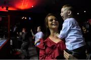 2 December 2017; Dillon McCormack, aged 2, from Limerick watches on with his mother Lauren as his father Graham McCormack enters the ring ahead of his bout at the National Stadium in Dublin. Photo by David Fitzgerald/Sportsfile