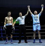 2 December 2017; Graham McCormack is declared victorious over Richard Baba following their bout at the National Stadium in Dublin. Photo by David Fitzgerald/Sportsfile
