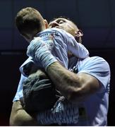 2 December 2017; Graham McCormack celebrates with his son Dillon, aged 2, following his bout against Richard Baba at the National Stadium in Dublin. Photo by David Fitzgerald/Sportsfile
