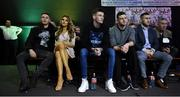 2 December 2017; Irish boxer Ryan Burnett, left, in attendance with his fiancee Lara Milner, with Gary Cully, centre, and David Oliver Joyce, right, at the National Stadium in Dublin. Photo by David Fitzgerald/Sportsfile