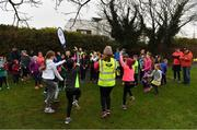 3 December 2017; Participants do a warm-up prior to the parkrun Ireland event in Deerpark, Mount Merrion, Dublin. parkrun Ireland in partnership with Vhi, expanded their range of junior events to thirteen with the introduction of the Deerpark junior parkrun on Sunday, December 3rd. Junior parkruns are 2km long and cater for 4 to 14 year olds, free of charge providing a fun and safe environment for children to enjoy exercise. To register for a parkrun near you visit www.parkrun.ie. Photo by Brendan Moran/Sportsfile