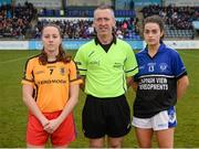 3 December 2017; Referee Brendan Rice with captains Annie Moffatt of Dunboyne, left, and Aoife Keating of Kinsale prior to the All-Ireland Ladies Football Intermediate Club Championship Final match between Dunboyne and Kinsale at Parnell Park in Dublin. Photo by Seb Daly/Sportsfile