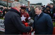 3 December 2017; From left, owner Gordon Elliott, jockey Davy Russell and trainer Gordon Elliot celebrate after winning the Bar One Racing Drinmore Novice Steeplechase with Death Duty at Fairyhouse Racecourse in Fairyhouse, Co Meath. Photo by Cody Glenn/Sportsfile