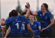 3 December 2017; Lindsay Peat of Leinster is congratulated by team mate Aoife McDermott after scoring her side's second try during the Women's Interprovincial Rugby match between Ulster and Leinster at Dromore RFC in Dromore, Co Antrim. Photo by David Fitzgerald/Sportsfile
