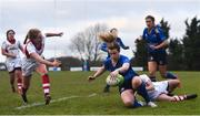 3 December 2017; Susan Vaughan of Leinster goes over to score her side's fourth try during the Women's Interprovincial Rugby match between Ulster and Leinster at Dromore RFC in Dromore, Co Antrim. Photo by David Fitzgerald/Sportsfile