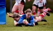 3 December 2017; Michelle Claffey goes over to score her side's third try during the Women's Interprovincial Rugby match between Ulster and Leinster at Dromore RFC in Dromore, Co Antrim. Photo by David Fitzgerald/Sportsfile