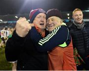 3 December 2017; Carnacon joint-manager Jimmy Corbett celebrates with a supporter following his side's victory during the All-Ireland Ladies Football Senior Club Senior Championship Final match between Carnacon and Mourneabbey at Parnell Park in Dublin. Photo by Seb Daly/Sportsfile