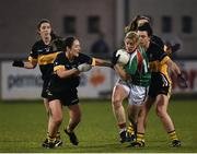 3 December 2017; Cora Staunton of Carnacon in action against Róisín O'Sullivan, left, and Doireann O'Sullivan of Mourneabbey during the All-Ireland Ladies Football Senior Club Senior Championship Final match between Carnacon and Mourneabbey at Parnell Park in Dublin. Photo by Seb Daly/Sportsfile