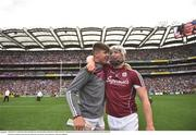"3 September 2017; Joe Canning of Galway celebrates with his nephew Jack, who played in the minor game, following the GAA Hurling All-Ireland Senior Championship Final match between Galway and Waterford at Croke Park in Dublin. Photo by Ramsey Cardy/Sportsfile    This image may be reproduced free of charge when used in conjunction with a review of the book ""A Season of Sundays 2017"". All other usage © SPORTSFILE"