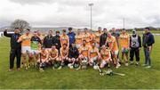 16 April 2017; The Antrim players celebrate with the Liam Harvey cup after the Ulster GAA Hurling Senior Championship Final match between Antrim and Armagh at the Derry GAA Centre of Excellence in Owenbeg, Derry. Photo by Oliver McVeigh/Sportsfile