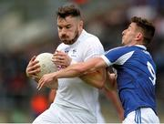 "4 June 2017; Fergal Conway of Kildare in action against Colm Begley of Laois during the Leinster GAA Football Senior Championship Quarter-Final match between Laois and Kildare at O'Connor Park, in Tullamore, Co. Offaly.   Photo by Piaras Ó Mídheach/Sportsfile   This image may be reproduced free of charge when used in conjunction with a review of the book ""A Season of Sundays 2017"". All other usage © SPORTSFILE"