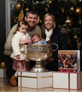 4 December 2017; In attendance at the launch of the A Season of Sundays 2017 at The Croke Park in Dublin are the Mahon family, from left, Caitlin, Trevor, 2 week old Conor and Clodagh, from Shannonsbridge, Co. Offaly. Photo by Stephen McCarthy/Sportsfile