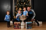 4 December 2017; In attendance at the launch of the A Season of Sundays 2017 at The Croke Park in Dublin are 2 year old Sadhbh, 7 year old Sean and 4 year old Rory Whelan, from Bayside, Dublin with All-Ireland winning footballer Ciaran Kilkenny of Dublin. Photo by Stephen McCarthy/Sportsfile