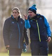 3 December 2017; Leinster head coach Adam Griggs, right, with team manager Lorna Quinn prior to the Women's Interprovincial Rugby match between Ulster and Leinster at Dromore RFC in Dromore, Co Antrim. Photo by David Fitzgerald/Sportsfile
