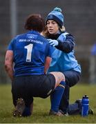 3 December 2017; Leinster physio Niamh Connolly with Aine Donnelly during the Women's Interprovincial Rugby match between Ulster and Leinster at Dromore RFC in Dromore, Co Antrim. Photo by David Fitzgerald/Sportsfile