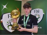 05 December 2017; Harry Nevin of St. Francis College, Rochestown, Co. Cork, with his Player of the Tournament trophy following the FAI Post Primary Schools Futsal Finals at Waterford IT Indoor Arena in Waterford.  Photo by Seb Daly/Sportsfile