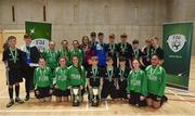 05 December 2017; Winners St. Francis College, Rochestown, Co. Cork, and Presentation Secondary School, Ballyphehane, Co. Cork, following the FAI Post Primary Schools Futsal Finals at Waterford IT Indoor Arena in Waterford.  Photo by Seb Daly/Sportsfile