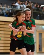 05 December 2017; Katie Collins Byrne, left, of St. Leo's College, Co. Carlow, celebrates with teammate Emma Walker, after scoring her side's third goal against Presentation Secondary School, Ballyphehane, Co. Cork, during the FAI Post Primary Schools Futsal Finals at Waterford IT Indoor Arena in Waterford.  Photo by Seb Daly/Sportsfile