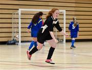 05 December 2017; Ellen Kelleher of St. Attracta's Community School, Tubbercurry, Co. Sligo, celebrates after scoring her side's third goal against Carndonagh Community School, Co. Donegal, during the FAI Post Primary Schools Futsal Finals at Waterford IT Indoor Arena in Waterford.  Photo by Seb Daly/Sportsfile